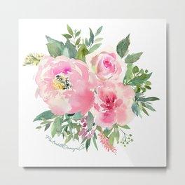 Pink Watercolor Bouquet  Metal Print