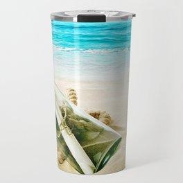 Beach Photography Neck Gator Message in a Bottle Travel Mug