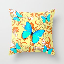 DECORATIVE BLUE BUTTERFLIES YELLOW FLORAL PATTERN Throw Pillow