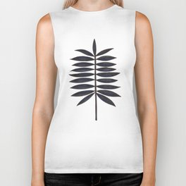 Black Palm Leaf Biker Tank