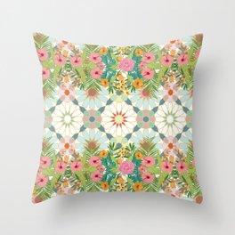 floral zellij ntropical Throw Pillow