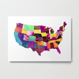 USA map art 1 #usa #map Metal Print