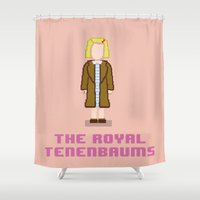 tenenbaum Shower Curtains featuring Margot Tenenbaum 8 bits by AlbaRicoque
