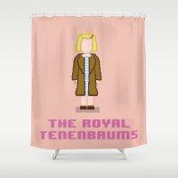 tenenbaums Shower Curtains featuring Margot Tenenbaum 8 bits by AlbaRicoque
