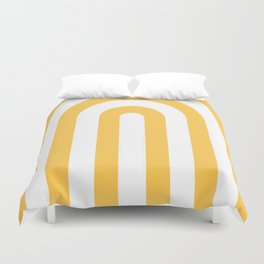 yellow and white retro u stripes Duvet Cover