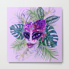 Purple Woman with Tropic leaves Metal Print