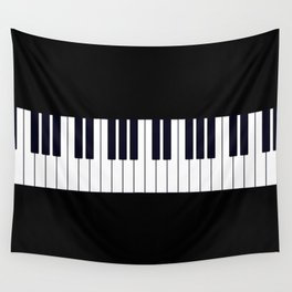 Piano Keys - Black and white simple piano keys pattern minimalistic music themed artwork Wall Tapestry