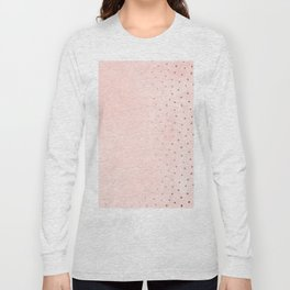 Rose Gold Pastel Pink Foil Paint Line Dots XXIII Long Sleeve T-shirt