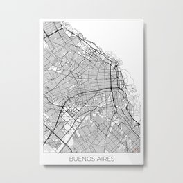 Buenos Aires Map White Metal Print