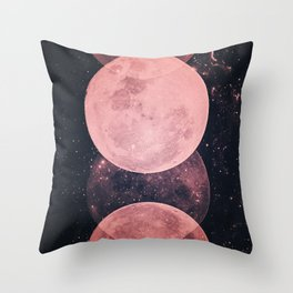 Pink Moon Phases Throw Pillow
