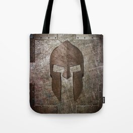 Molon Labe - Spartan Helmet on Riveted steel Tote Bag