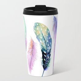 Watercolor Feather Travel Mug