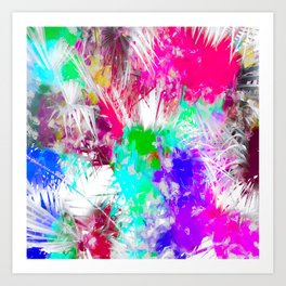 palm leaf with colorful painting abstract background in pink blue green purple Art Print