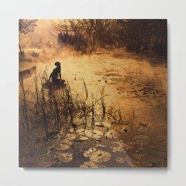 Silhouette on the lake Metal Print