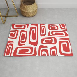 Mid Century Modern Cosmic Abstract 613 Red Rug