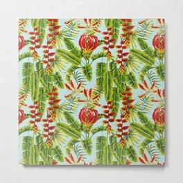 tropical flowers and banana leaves seamless pattern Metal Print