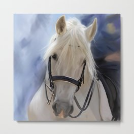 Painted White Horse head Metal Print