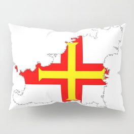 Guernsey Outline Silhouette Map With Inset Flag Pillow Sham