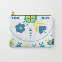 Folk Flowers in Yellow and Turquoise Carry-All Pouch