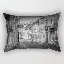 Winding Cotswold Town Road Black and White England Rectangular Pillow