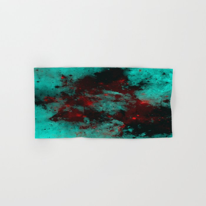 Ruby Galaxy - Abstract cyan, red and black space themed painting Hand & Bath Towel