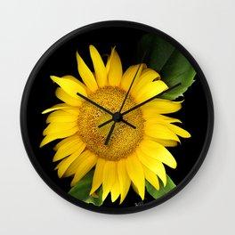 Summer Yellow Sunflower, Scanography Art, Flowers Wall Clock
