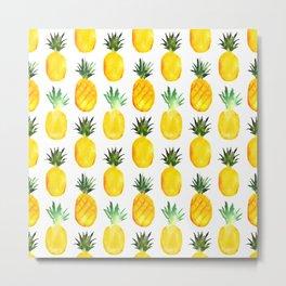 Pineapple love || watercolor Metal Print