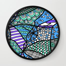 Doodle Art Drawing - Fishes and Waves - Blue Green Purple Wall Clock