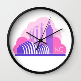 Kansas City in the Clouds - Pink and Purple Wall Clock