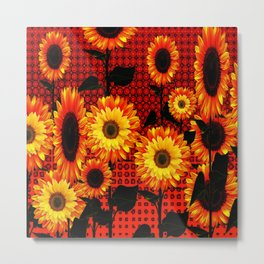 GRAPHIC DARK SUNFLOWERS ON RED COLOR PATTERN Metal Print