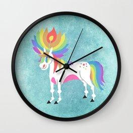 Rainbow Petal Unicorn Wall Clock