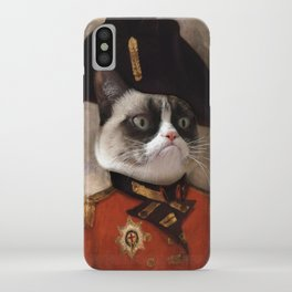 Angry cat. Grumpy General Cat. iPhone Case