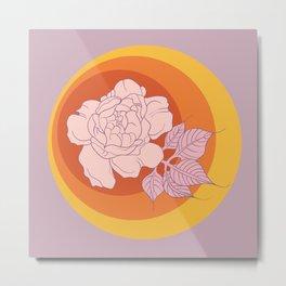 Pink Sunset Peony Metal Print