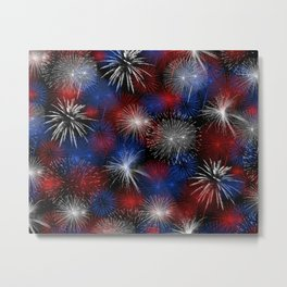 Fireworks Red White and Blue Metal Print