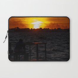 Man fishing at seaside in Izmir during sunset Laptop Sleeve