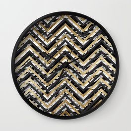 Black and White Marble and Gold Chevron Zigzag Wall Clock