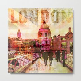 London St. Pauls Cathedral modern illustration typography Metal Print
