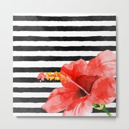 Tropical flower on stripes Metal Print