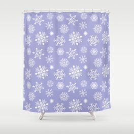 Snowflakes - White on Lavender Shower Curtain