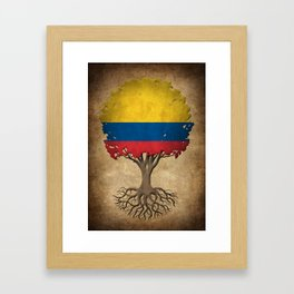 Vintage Tree of Life with Flag of Colombia Framed Art Print