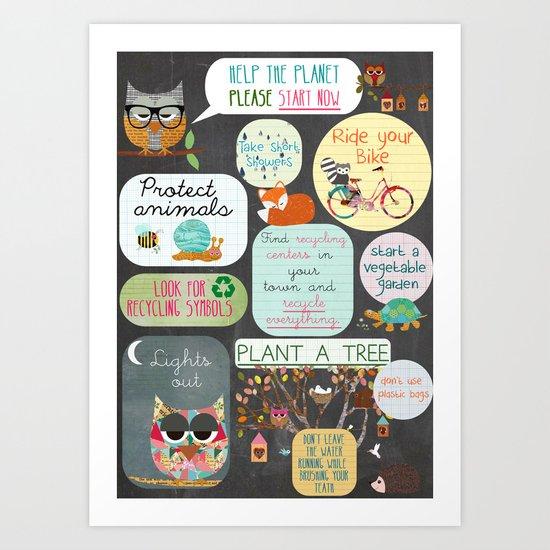 Help the planet on chalkboard background Art Print