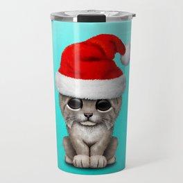 Christmas Lynx Wearing a Santa Hat Travel Mug