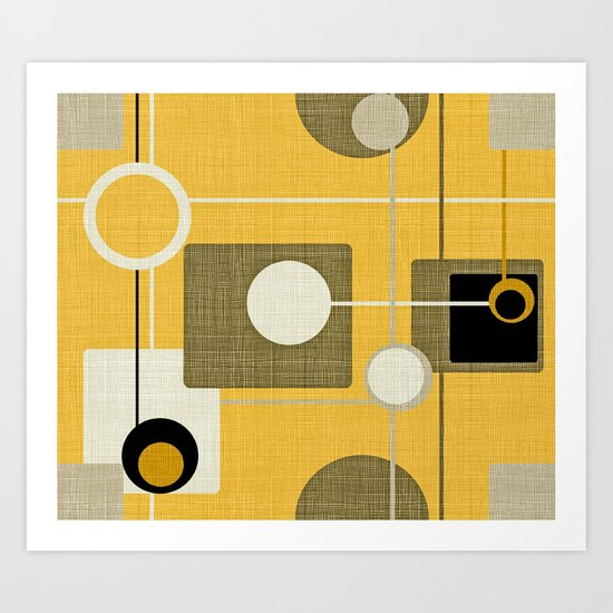 orbs and square gold yellow Art Print