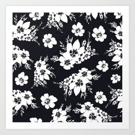 Black and white graphic floral pattern Art Print