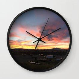 Cody Sunset Over Heart Mountain Wall Clock