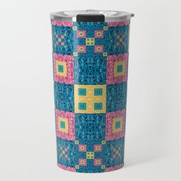 Classic Pretty Quilt Geometric Print in Yellow Pink and Blue Travel Mug