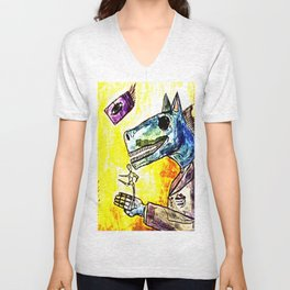 strange horses giving friendship Unisex V-Neck