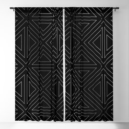 Angled Black & Silver Blackout Curtain