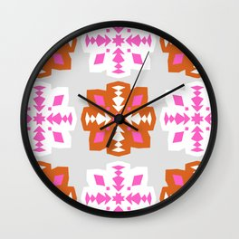 mod snowflakes, pink & orange Wall Clock