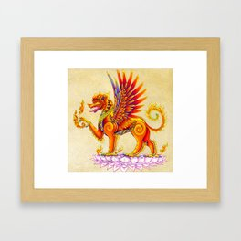 Singha Winged Lion Temple Guardian Framed Art Print
